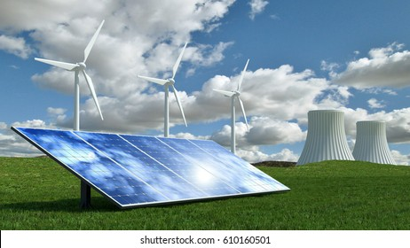 Alternative energy concept with wind turbines, solar panels and nuclear energy power plant.3D Render.