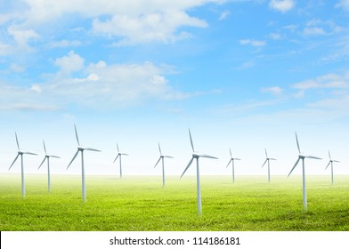 Alternative energy.  Group of energy producing windmills