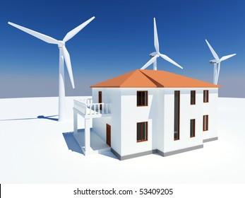 Alternative energy house with wind turbine