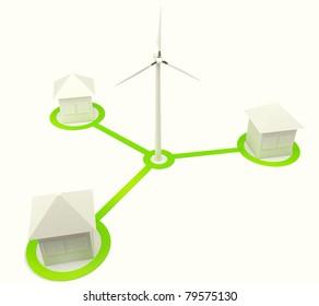 Alternative energy house with wind turbine isolated on white background