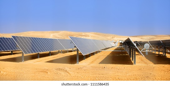 alternative energy, industrial landscape solar batteries in the desert
