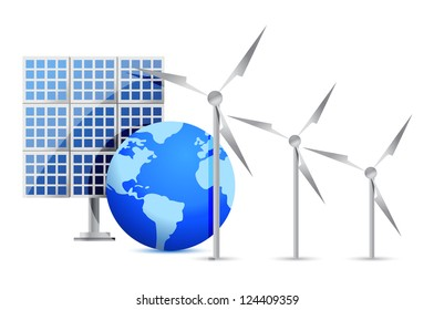 Alternative Energy (solar cell, earth, wind turbine) illustration design