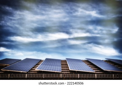 Alternative energy with solar panel system on house roof top