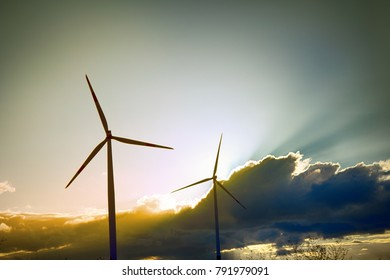 Alternative energy sources, use of wind energy. Wind plant in European Union, wind-powered generators on background of bright sunset (future sight)