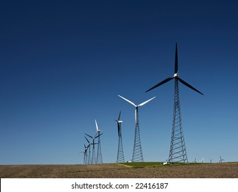 Alternative energy Wind turbine farms in early spring