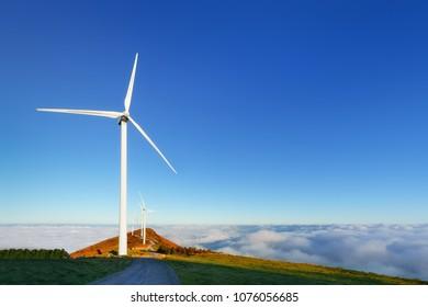 alternative energy with wind turbines on Oiz eolic park