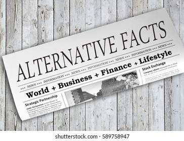Alternative Facts Newspaper on wooden background