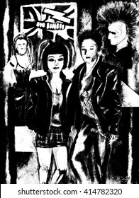 Alternative fashion and style, black and white illustration of a group of punk rockers with leather jackets, and unusual hairstyles.
