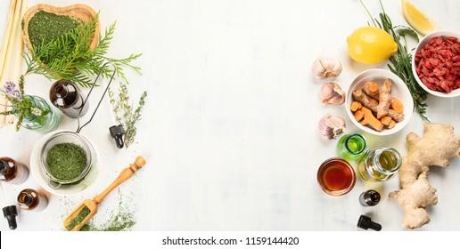 Alternative medicine concept. Herbal medicine and homeopathy
