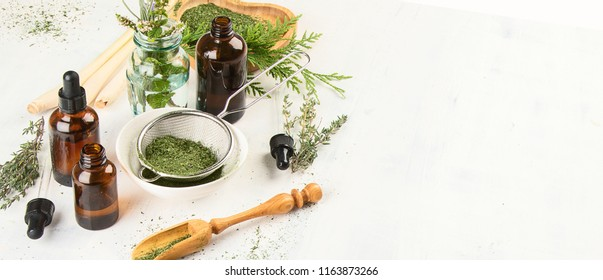 Alternative medicine concept. Herbal medicine and homeopathy