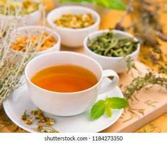 Alternative Medicine. Herbal Therapy. Cup of infusion and healing herbs. White background.Selective focus.