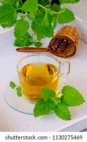 Alternative Medicine. Herbal Therapy. Melissa or lemon balm infusion in glass cup. White background.