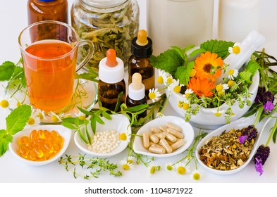 Alternative Medicine. Herbal Therapy. Rosemary, mint, chamomile, thyme, melissa, lavender and calendula.