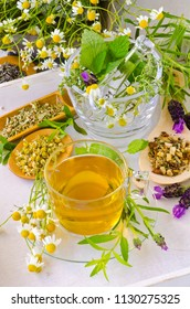 Alternative Medicine. Herbal Therapy. Rosemary, mint, chamomile, thyme, melissa, lavender and lemon verbena. Herbal infusion in foreground.