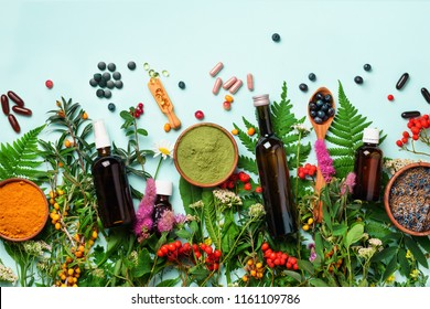 Alternative medicine. Holistic approach. Healing herbs and flowers over blue background. Top view, copy space, flat lay. Banner