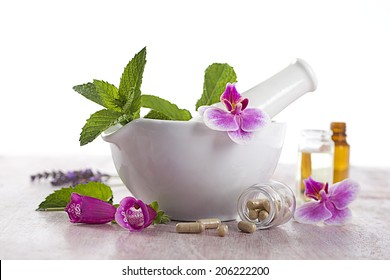 alternative medicine and therapy- herbal supplements and essential oils