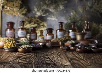 Alternative medicine. Wooden rustic table.