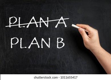 Alternative Plan crossed on blackboard or chalkboard
