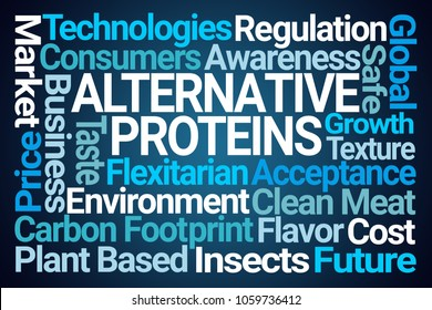 Alternative Proteins Word Cloud on Blue Background