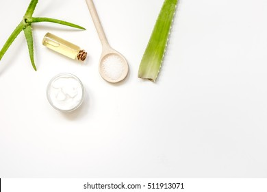 Alternative skin care aloe vera top view on white background