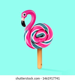 An alternative sweets. Candy as a flamingo on the wooden stick on blue background. Negative space to insert your text. Modern design. Contemporary art. Creative conceptual and colorful collage.