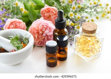 alternative therapy with essential oils and supplement