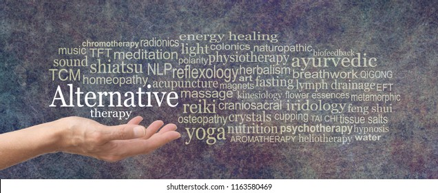 Alternative Therapy Word Cloud - female hand held palm up the words ALTERNATIVE THERAPY in white above surrounded by a relevant word cloud on a rustic dark stone background