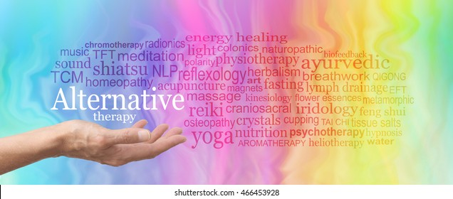 Alternative Therapy Word Cloud - female hand held palm up the words ALTERNATIVE THERAPY in white above surrounded by a relevant word cloud on a rainbow colored marble effect background