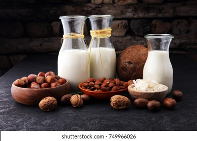 Alternative types of milks. Vegan substitute dairy milk