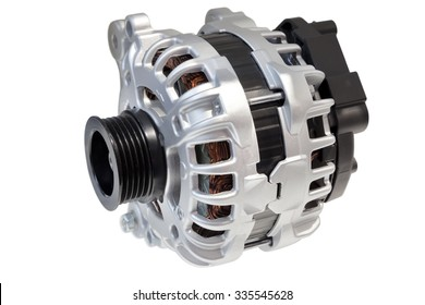 Alternator. Image of car alternator isolated on white. Clipping path included.