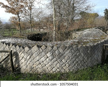Altilia, Sepino, Campobasso, Molise, Italy - March 8, 2018: Horizontal cut of the tower of the walls of the small Roman city of Samnite origins built along the ancient Pescasseroli-Candela cattle trac