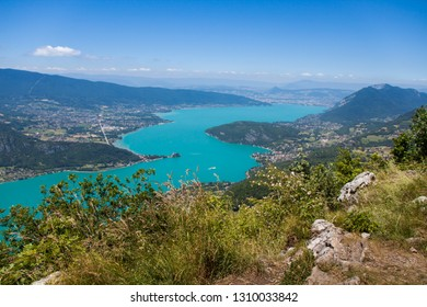 Altitude Panorama over Annecy Lake and French Haute Savoie Valley on a Sunny Summer Day
