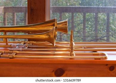 alto, bass, and tenor sackbuts in profile