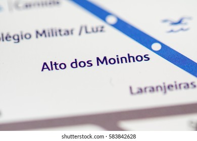 Alto dos Moinhos Station. Lisbon Metro map.
