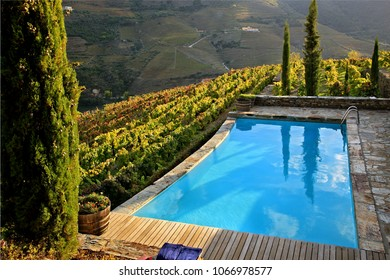 ALTO DOURO VALLEY, PORTO E NORTE, PORTUGAL- October 9, 2015. Swimming pool surrounded by vineyards in Quinta Nova luxury winery house, one of the most beautiful guesthouses in the valley.