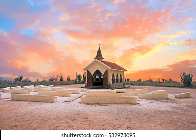 Alto Vista Chapel on Aruba island in the Caribbean at sunset