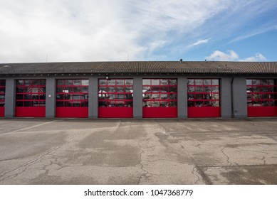 Altoetting,Germany-March 16,2018: Firetrucks stand ready inside the local firestation  .