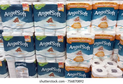 Altoona, Wisconsin, October, 19, 2017  Several packages of Angel Soft bathroom tissue on a grocery store shelf  Angelsoft was introduced to the United States in 1987