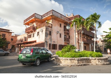 Altos de Chavon, Dominican republic - January 7, 2017: Street view of Altos de Chavon, mediterranean style European village located atop the Chavon River in La Romana