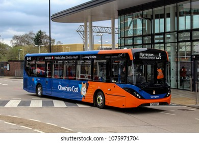 Altrincham, Manchester/United Kingdom April 18th 2018 : Warrington's Own Buses brand new Cheshire Cat brand to connect Altrincham and Warrington starts operation with new high spec buses