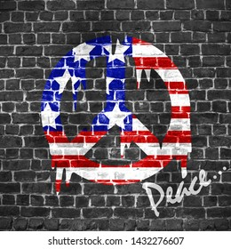An altrnative view of Stars and Stripes, flag of United States of America as a pacific or peace symbol on brick wall. Modern design. Contemporary art. Creative conceptual and colorful collage.