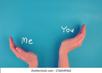Altruism concept image. Hands as a scale. You are more important than me