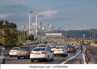 Altunizade, Istanbul - November 24, 2019 : Road jam on the Bosphorus Bridge road from the Anatolian side of Istanbul to the road to Europe. TURKEY