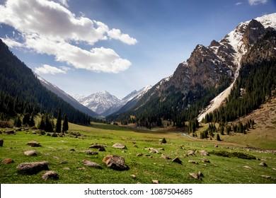 Altyn arashan mountain valley in Tian Shan mountain, Kyrgyzstan