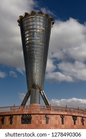 Altyn Shanyrak monument Shymkent with 137 steel pillars for peoples brought together in Shymkent, Kazakhstan - September 11, 2016
