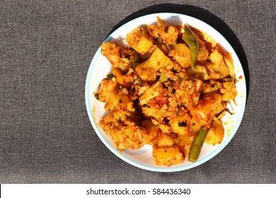 Alu Gobi ki sabzi- potatoes with cauliflower, Indian style vegetable curry