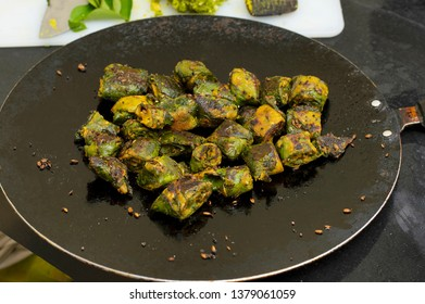 Alu Vadi or Colocasia leaves steamed and then fried. Maharashtrian and Gujrati snack.