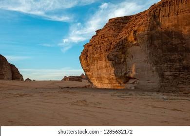 Al-Ula city and distinctive rock formations, Saudi Arabia