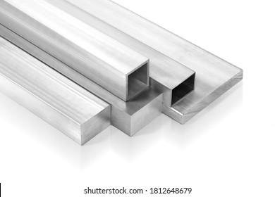 Aluminium bars stacked on white background