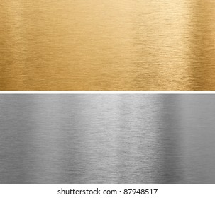 aluminium and brass metal plates background